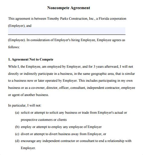 business templates noncompete agreement non compete agreement 7 free sles exles