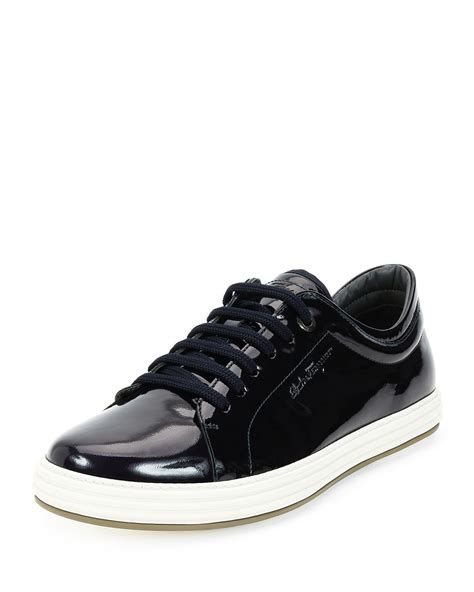 mens patent leather sneakers lyst ferragamo newport patent leather low top sneakers