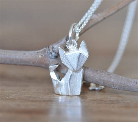Origami Charm Necklaces - origami fox necklace in sterling silver 925 fox necklace