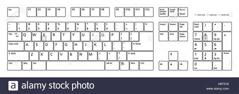 email keyboard layout 104 keys pc keyboard layout in vector format stock vector