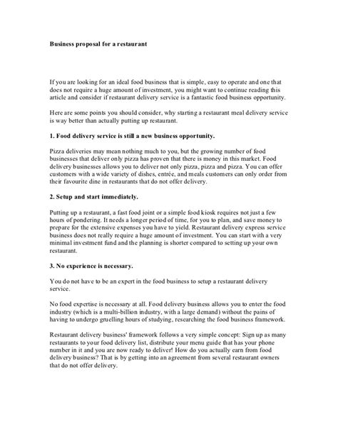 proposal format restaurant business proposal for a restaurant