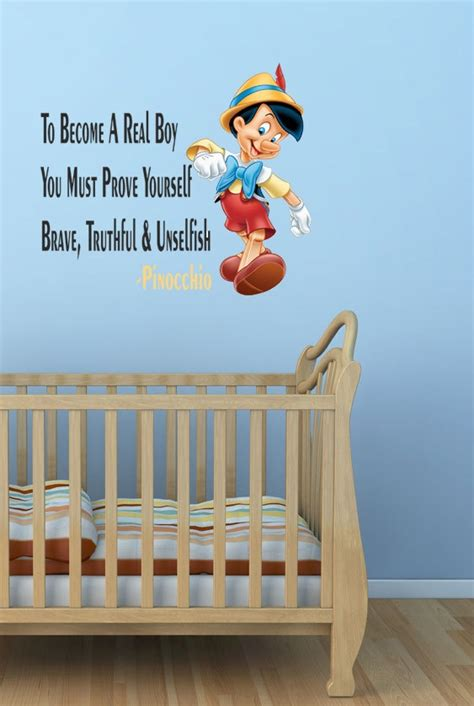 Walt Disney Pinocchio Wall Quote Sticker Decal Boys Room Disney Nursery Wall Decals