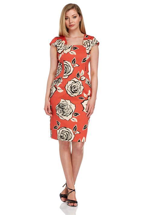 Aqila Dress Toyobo Mix Cotton cotton mix floral print dress in orange
