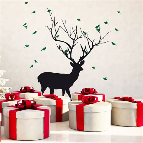 christmas deer with birds wall sticker by snuggledust