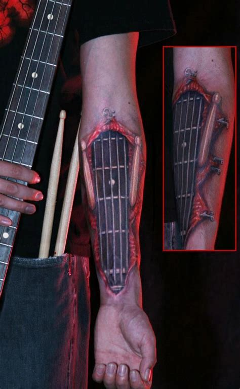 sick forearm tattoos sick sick 3d guitar arm tattoos