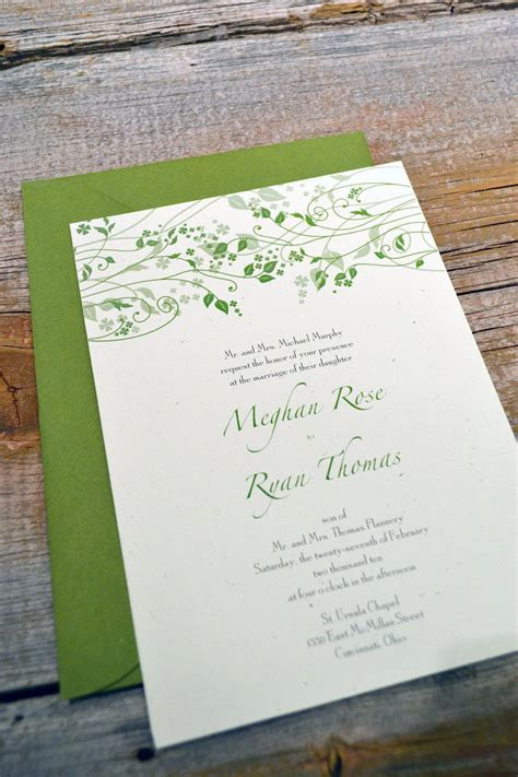MAEVE   IRISH Wedding Invitation Set on recycled paper. $2