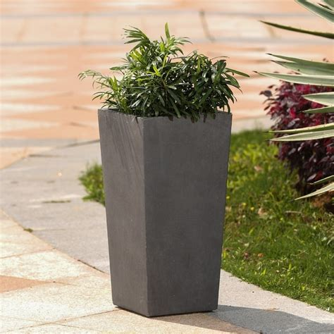 shop tapered stone finish tall planter  sale ships