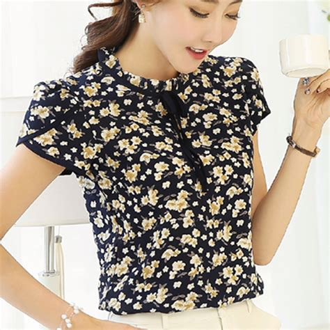 print chiffon shirt 2017 summer floral print chiffon blouse ruffled collar bow