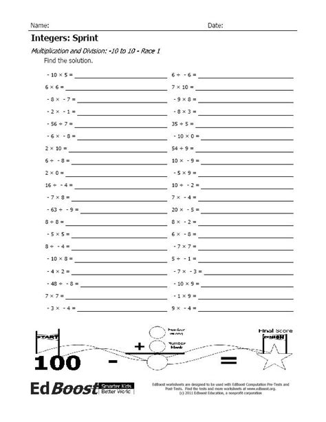 Multiplying And Dividing Integers Worksheets With Answers by Multiplication With Integers Edboost