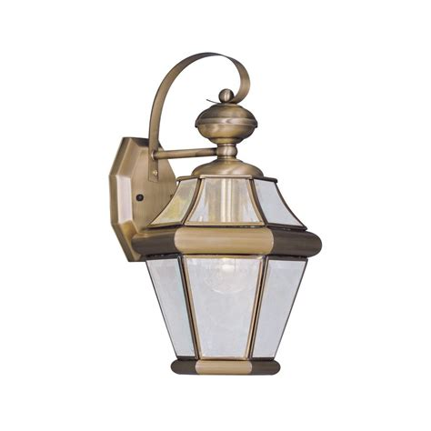 antique outdoor lighting shop livex lighting georgetown 15 in h antique brass outdoor wall light at lowes com