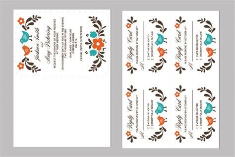 Diy Folksy Wedding Invitation And Rsvp Rsvp Card Template 6 Per Page