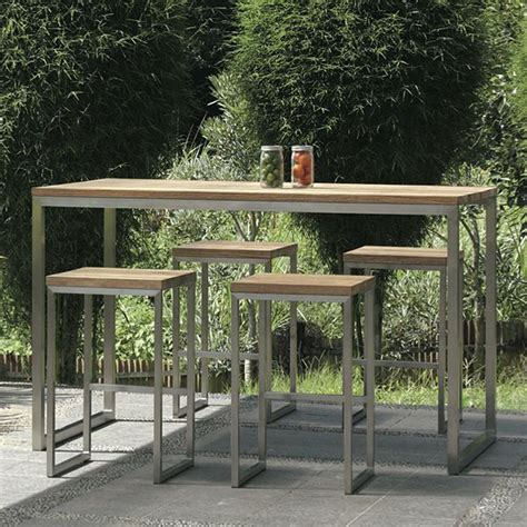 Bar Height Bistro Table Outdoor Mamagreen Oko Teak Outdoor Bistro Table Bar Height Homeinfatuation