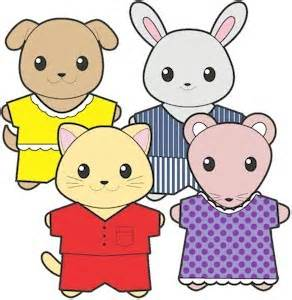 Image of printable pajama buddies paper dolls