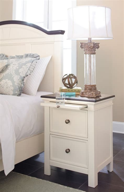 economy furniture woodanville white brown two drawer night stand b623