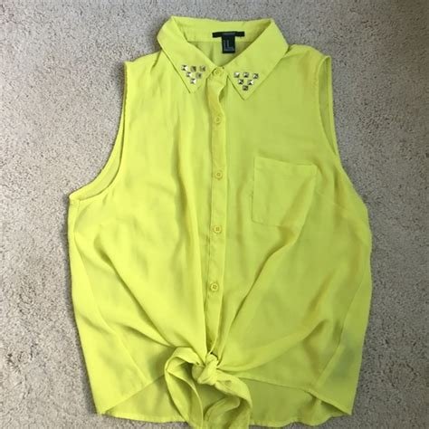 Blouse Ab 020 44 forever 21 tops like new lime green yellow studded blouse w tie from s