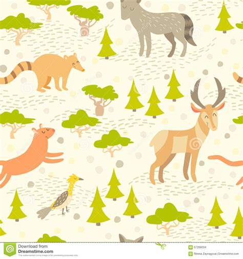 cute map pattern north american cute animals seamless pattern for kids