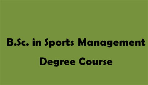 Top Colleges For Mba In Sports Management by B Sc In Sports Management Degree Course Getentrance