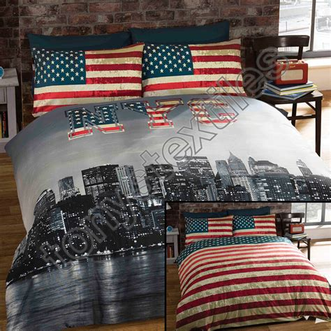 Bed Cover Set America Uk 120x200 new york city skyline american flag usa reversible quilt