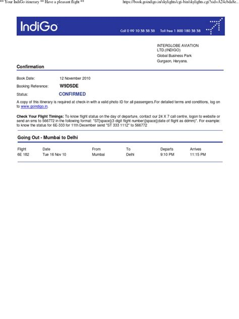 ticket booking template your indigo itinerary airlines aviation