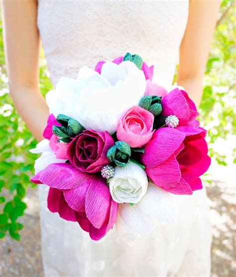 handmade crepe paper flower paper flower bouquet wedding