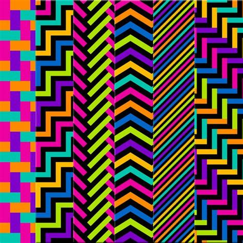 black bright herringbonechevron digital papers neon