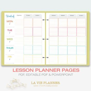 printable weekly class planner weekly lesson planner printable class schedule