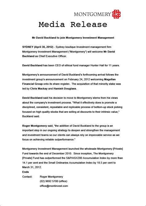 crisis press release template april 171 2012 171 roger montgomery