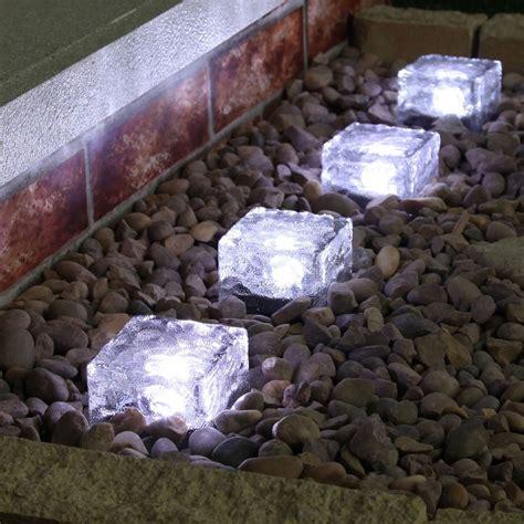 outdoor solar ground lights 4 white solar garden glass brick lights