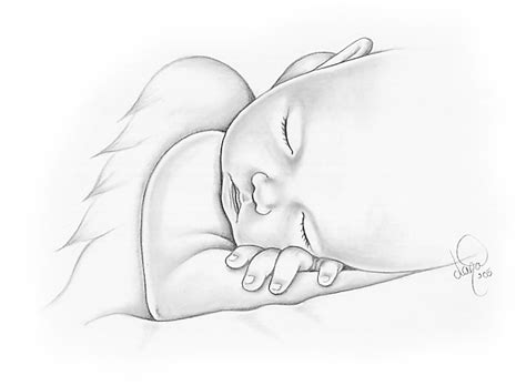 drawn baby baby angel sleeping pencil and in color drawn
