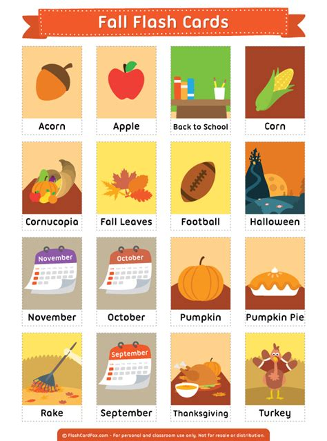Vocabulary Flash Cards Template by Free Printable Fall Flash Cards Them In Pdf