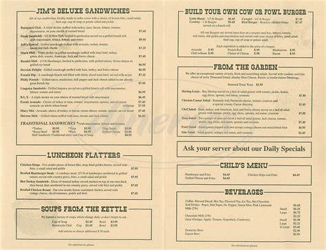 country style menu jims country style restaurant menu pleasanton dineries