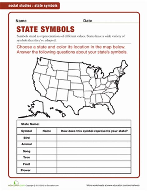 4th grade geography worksheets state symbols worksheet education