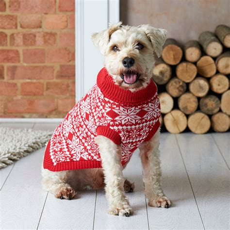 knitting pattern puppy jumper traditional christmas nordic knitted dog jumper by