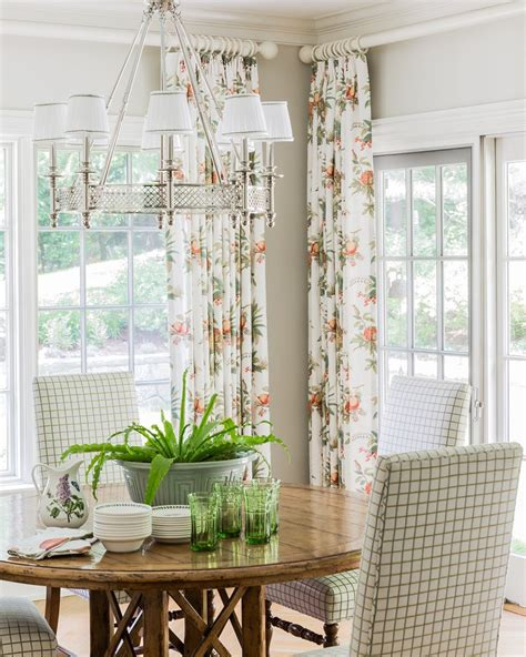 good looking white floral curtains dining room traditional
