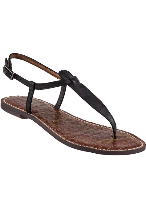 black sandals lyst sam edelman gigi flat sandal black leather in black