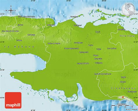 physical map of cuba physical map of matanzas