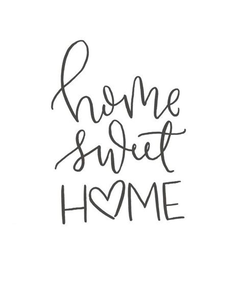 printable lettering quotes home sweet home brush script quote digital print