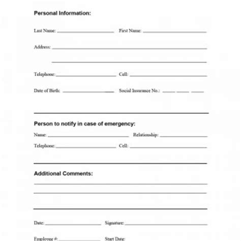 printable employee information forms personnel