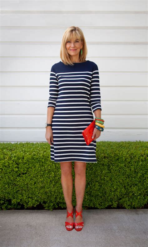 56 year old women style how to wear a striped dress outfit ideas for real women