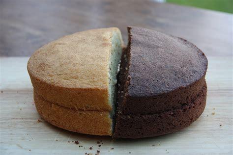 a cake of two halves half chocolate half vanilla