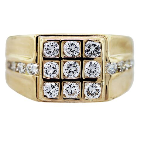 yellow gold diamond square grid mens ring