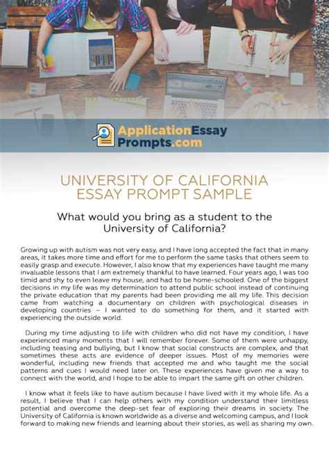 California Essay by How To Answer Of California Essay Prompts Application Essay Prompts
