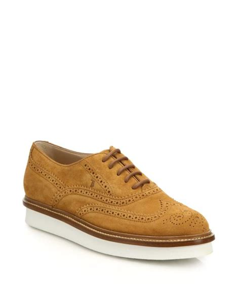 brown suede oxford shoes tod s suede wingtip derby oxford shoes in brown saddle