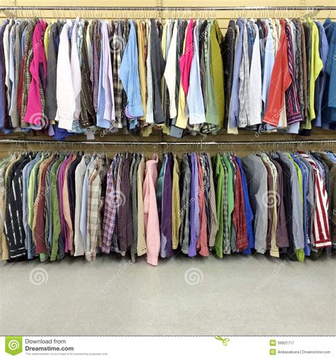 colorful clothes colorful clothes in a second store stock photo