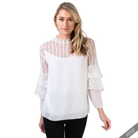 Kirana Frill Top Blouse 1 womens vintage ruffle frill sleeve blouse