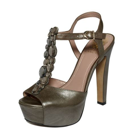 vince camuto shellys platform sandals in gray metal lyst