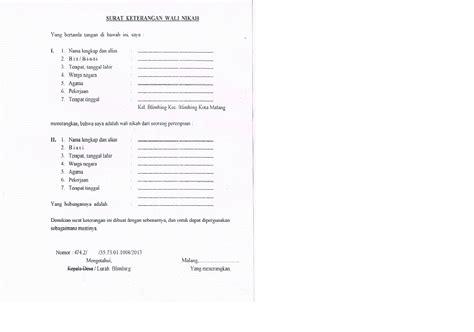 format surat kuasa wali nikah surat keterangan wali nikah