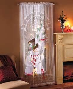 Lace Swag Curtains Led Lighted Christmas Holiday Festive Santa Or Snowman