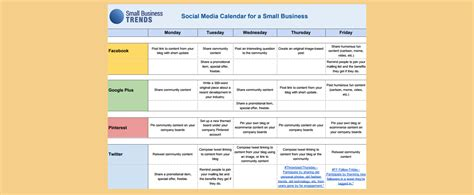 Social Media Calendar Template For Small Business Social Media Content Calendar Template