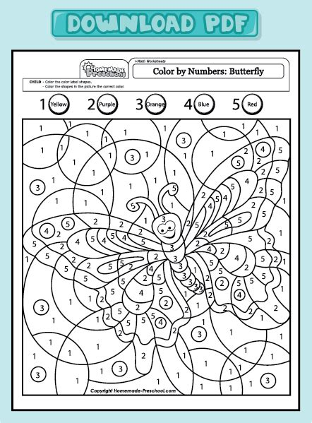 color by number math worksheets and interactive preschool worksheets